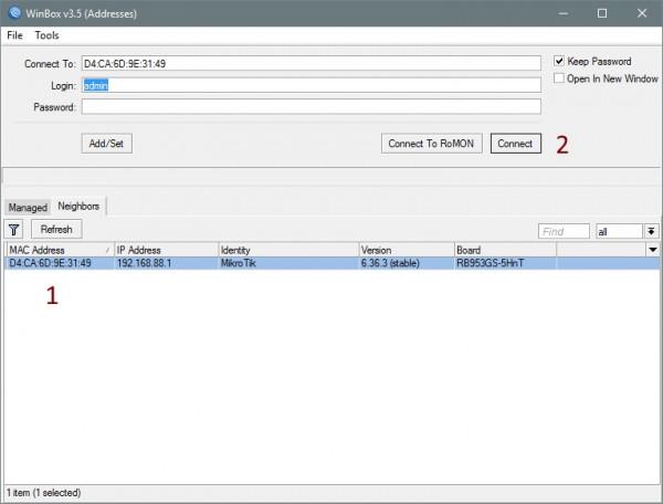 Интерфейс WinBox MikroTik — Technotrade